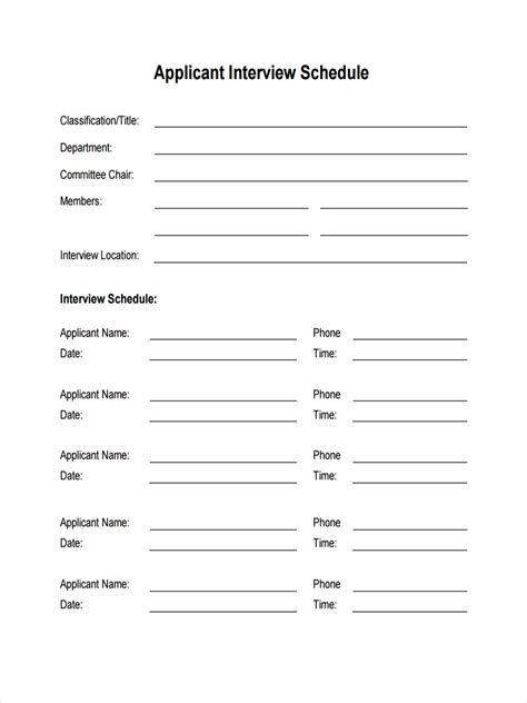interview schedule examples samples