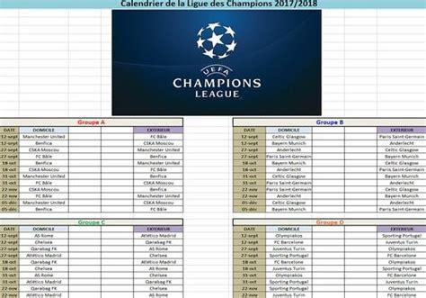 telecharger calendrier ligue des champions