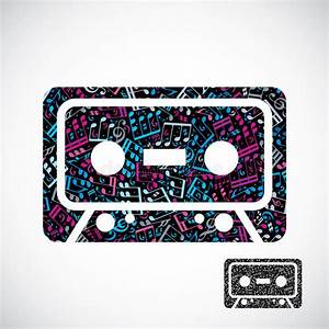 Decorative Colorful Vector Cassette Tape Symbol Filled ...