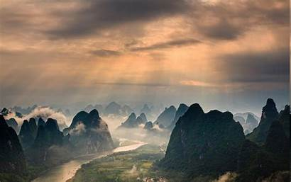 Guilin China Landscape Mountain Sunrise Mist Clouds