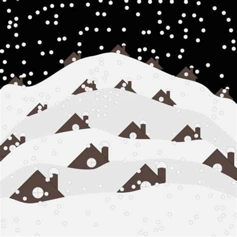 village winter night landscape  snow covered houses