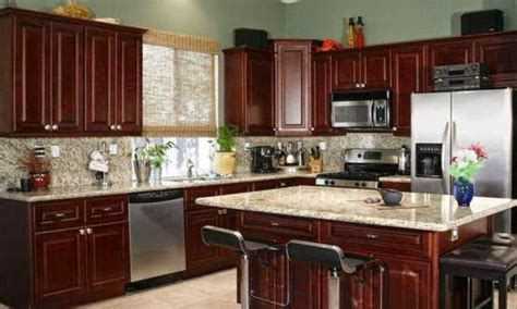 color theme idea for kitchen dark cherry cabinets with a lighter color counter top