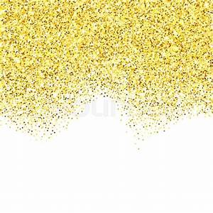Gold glitter texture border over white background ...
