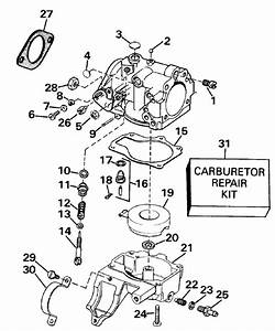 Johnson Carburetor Parts For 1990 25hp Tj25elese Outboard