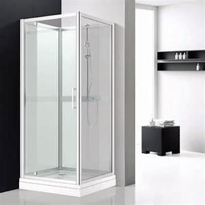 Cabine De Douche Verre Opaque : cabine douche d 39 angle en verre blanc avec porte pivotante ~ Edinachiropracticcenter.com Idées de Décoration