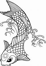 Koi Fish Coloring Pages Tattoo Sun Drawing Line Yang Yin Printable Template Forehead Its Ambush Drawings Tattoos Print Getcolorings Clipartmag sketch template