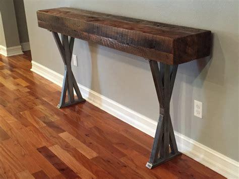trevors reclaimed wood foyer table  metal legs fama