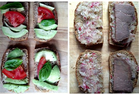 bread rye butter roast avocado toppings radish basil tomato baked beef combination goes many