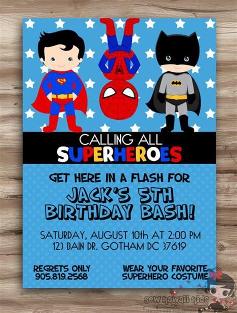 superhero birthday invitation superhero  kawaiikidsdesign