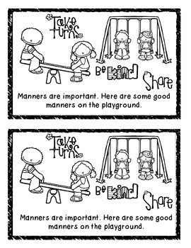 Manners on the Playground Mini Book by Clip Art by Carrie