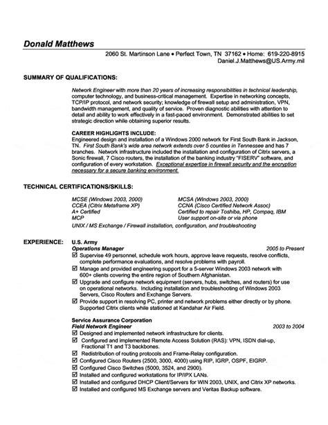 information technology resume skills exles network engineer resume