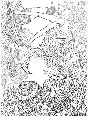 hand drawn mermaid  gold fish  underwater world