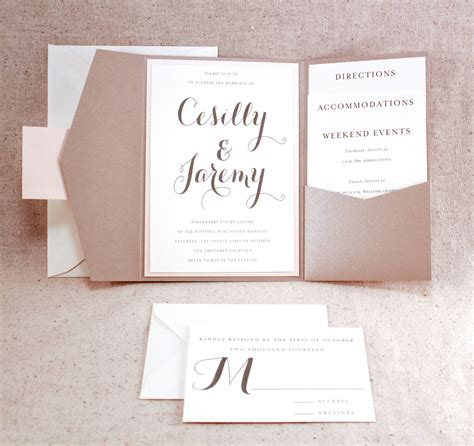 affordable wedding invitation sets wedding invitation set sophisticated elegance graham cracker beige pocket fold invite set with