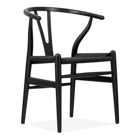 chaise 3 en 1 hans wegner style wishbone dining chair with black seat