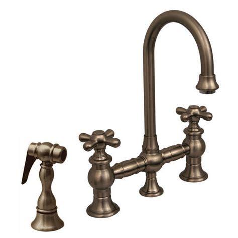 Kitchen Faucets   Prep Gooseneck Bridge Faucet w/ Cross