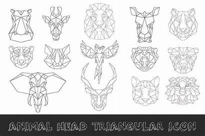 Animal Head Geometric Poly Low Icon Line