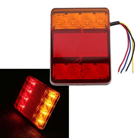 red led vehicle warning lights waterproof 8 led red yellow rear tail warning light 12v