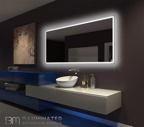 backlit bathroom mirror rectangle     ib mirror