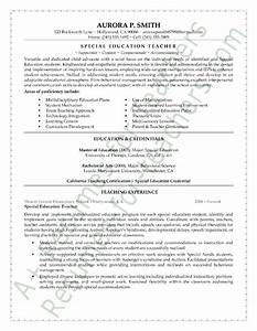 special education teacher resume sample With education teacher resume