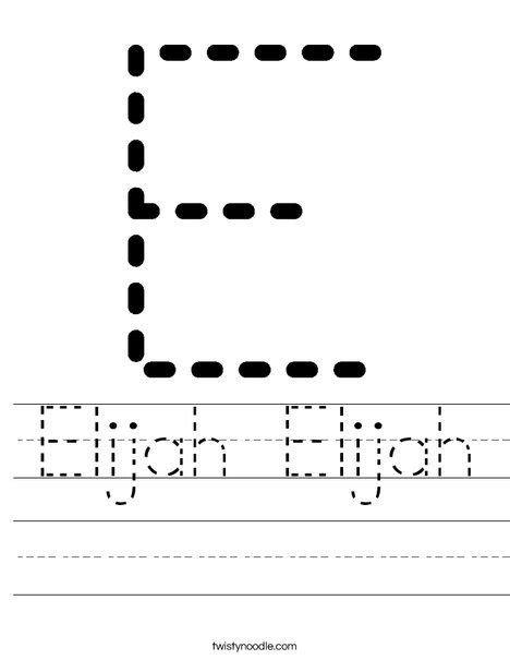 handwriting worksheet   write elijah worksheets