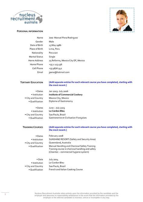 resume format for chef de partie resume ideas