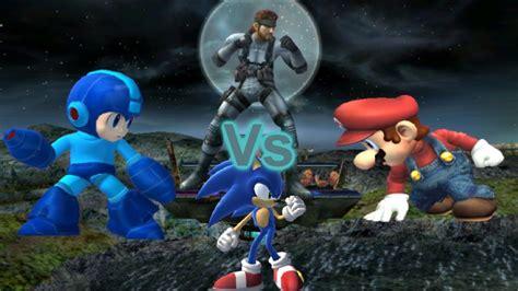Ssbb Dolphin Emulated Mario Vs Sonic Vs Megaman Vs Snake