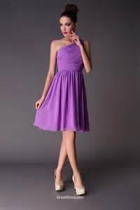 bridesmaid lavender dresses one shoulder lavender sleeveless pleated a line chiffon knee length simple bridesmaid