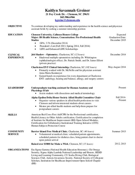 Internship Experience On Resume by Pre Internship Resume