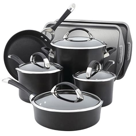 cookware circulon anodized hard piece symmetry nonstick bakeware glass pc stoves pans ray pots aluminum dining rachael amazon kitchen availability