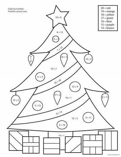 Christmas Worksheets Number Tree Grade Coloring Math