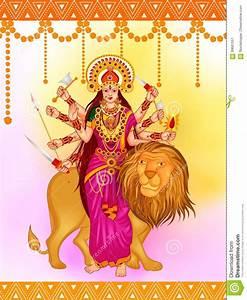 Happy Durga Puja India Festival Holiday Background Cartoon