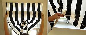 Great diy cheap windows curtains for Pull up curtains how to make