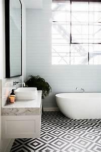 vous cherchez des idees pour un carrelage noir et blanc With carrelage salle de bain blanc