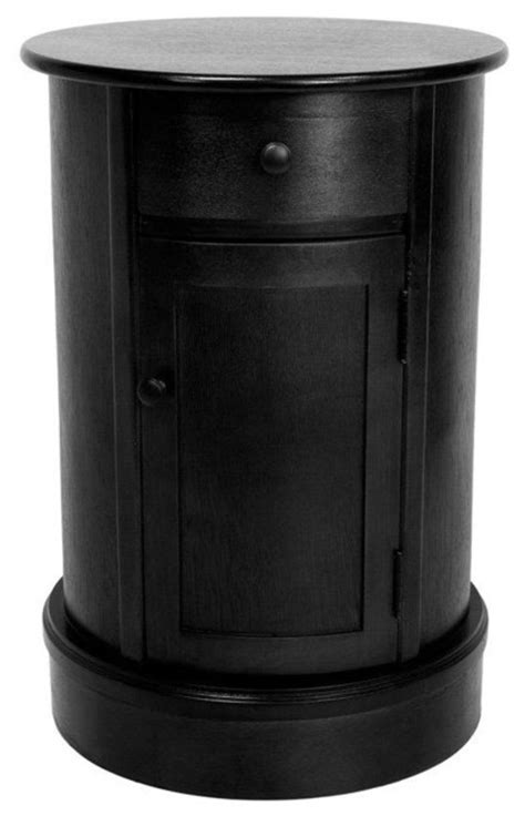 "26"" Classic Oval Design Nightstand - Black - Transitional"