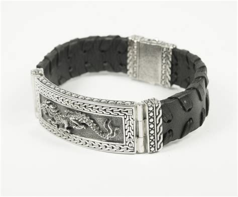 Sterling And Black Leather Dragon Bracelet Silverlust