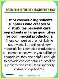 cosmetic ingredients suppliers list With cosmetics ingredients list