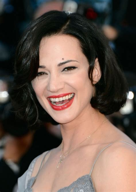 asia argento black wavy bob hairstyle styles weekly