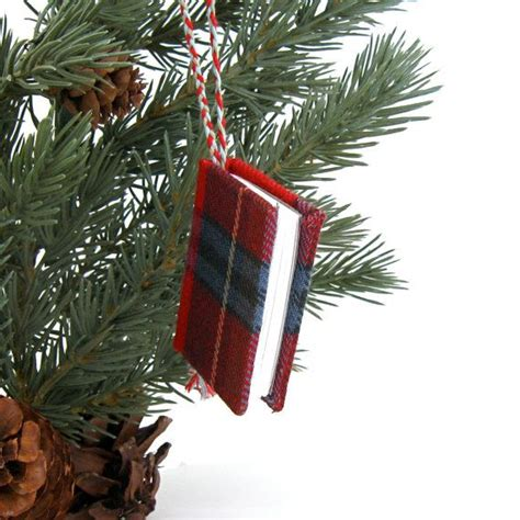 christmas ornament book in red scottish tartan