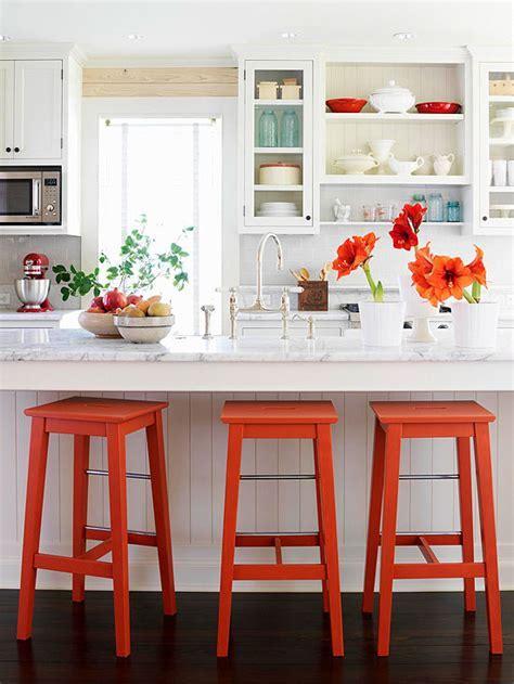 Orange Bar Stools   Cottage   kitchen   BHG