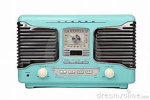 Classic Blue Retro Radio Isolated Stock Photography