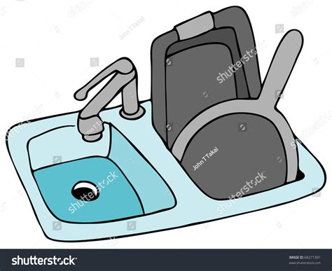 kitchen sink pan an image of a kitchen sink with pans 스톡 벡터 일러스트레이션 6552