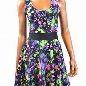 Neon UV Glow Splatter Paint Skater Dress from Coquetry