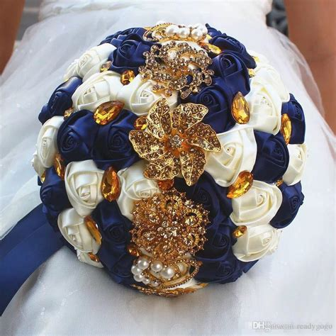 gorgeous wedding bridal bouquets ivory gold shiny flowers artificial wedding bouquet new crystal