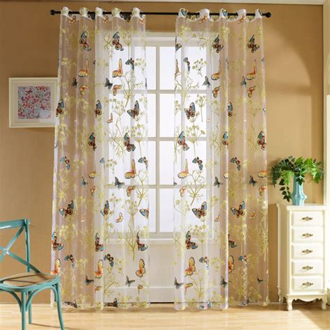 Butterfly Door Curtain by Door Window Floral Butterfly Sheer Curtains Voile Tulle