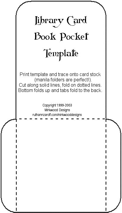 printable pocket card template mirkwood designs artistry in rubber library card book