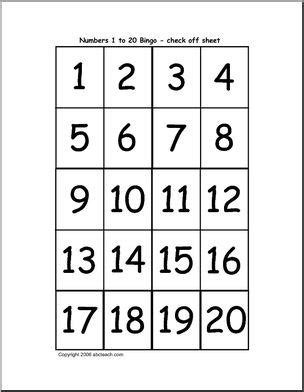 Bingo Cards Numbers 120 (check Sheet) Abcteach