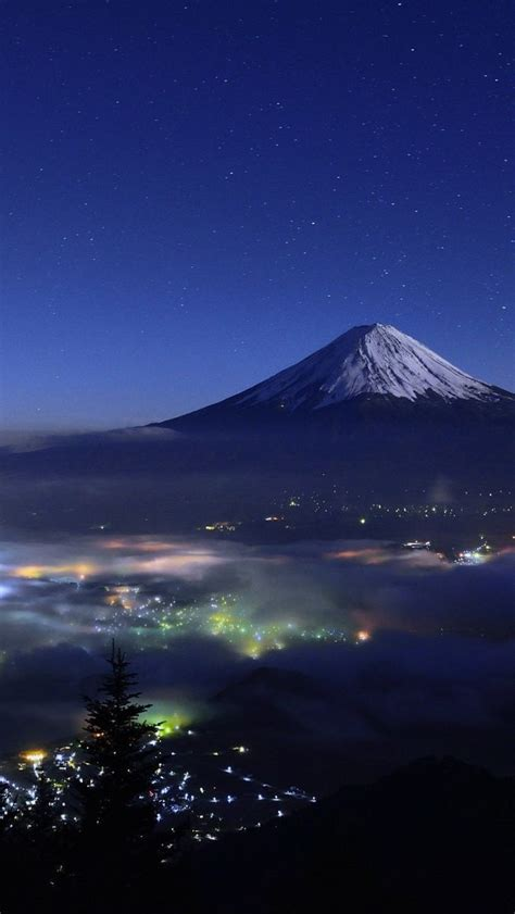 mount fuji japan night view iphone wallpaper iphone