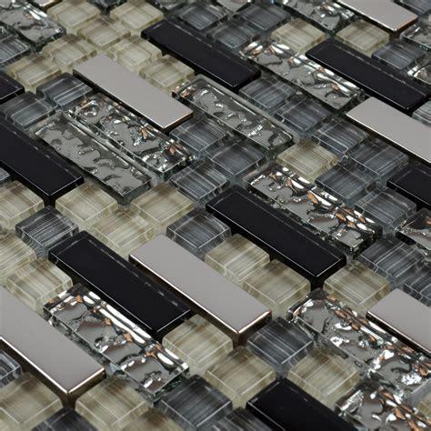 Metal And Glass Tile Backsplash Cheap Kitchen Crystal