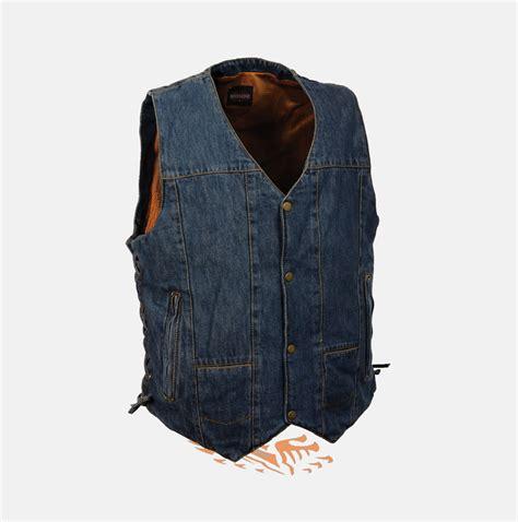 denim vest 10 pockets blue denim cotton biker vest side laces