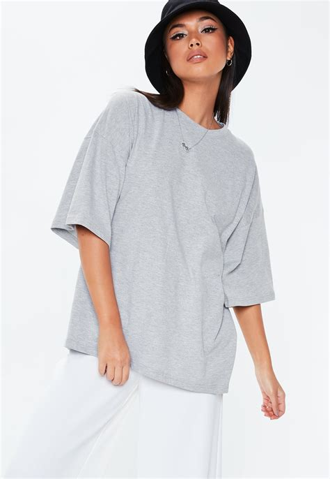 Grey Graphic Back Print Oversized T Shirt | Missguided
